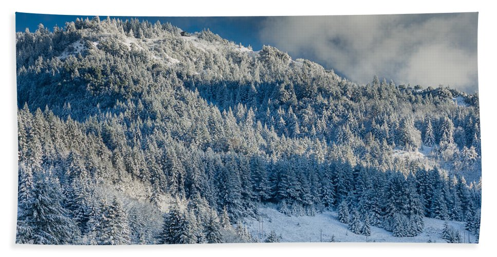 Dramatic Sky Hand Towel featuring the photograph Fresh Snow On The Mountain by Greg Nyquist