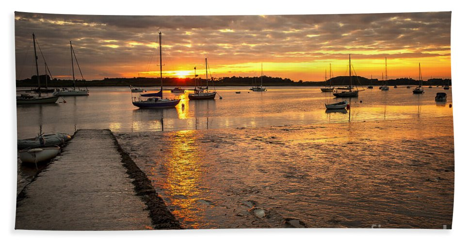 Anchor Hand Towel featuring the photograph Fresh Water Sunset by Svetlana Sewell