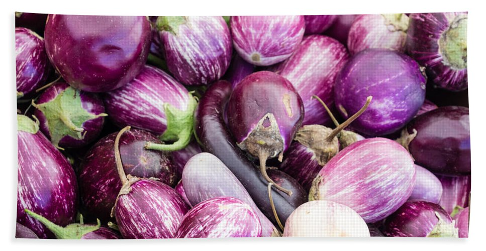 Agriculture Bath Sheet featuring the photograph Freshly Harvested Purple Eggplants by John Trax