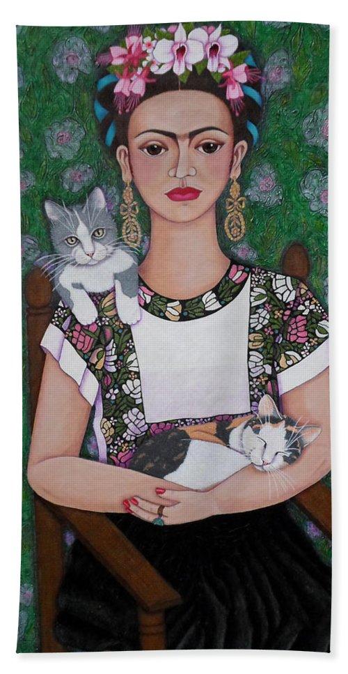 Frida Bath Sheet featuring the painting Frida Cat Lover by Madalena Lobao-Tello