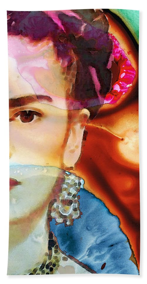 Frida Kahlo Hand Towel featuring the painting Frida Kahlo Art - Seeing Color by Sharon Cummings