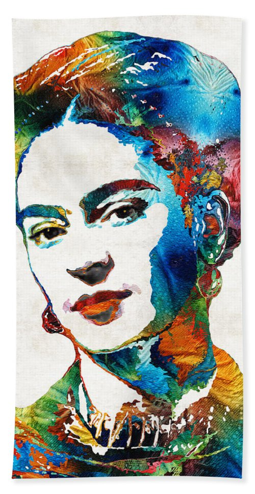 Frida Kahlo Hand Towel featuring the painting Frida Kahlo Art - Viva La Frida - By Sharon Cummings by Sharon Cummings