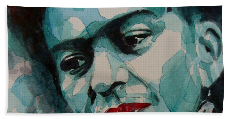 Frida Bath Towel featuring the painting Frida Kahlo by Paul Lovering