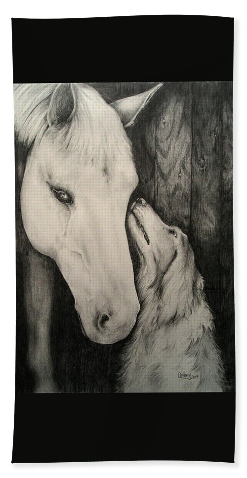 Horse Hand Towel featuring the drawing Friends by Catherine Howley