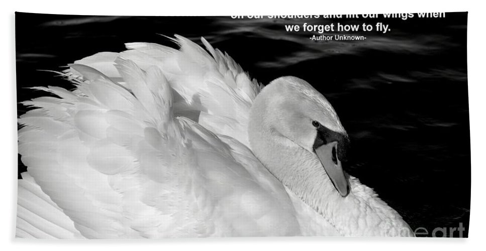 White Swan Hand Towel featuring the photograph Friends by Deb Halloran