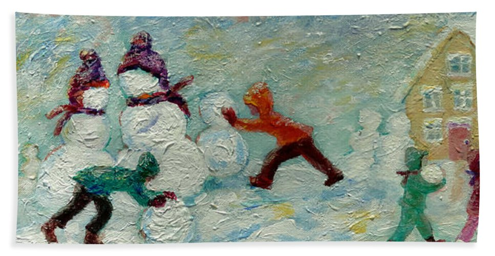 Kids Building Snow People Bath Towel featuring the painting Friends Making Friends by Naomi Gerrard