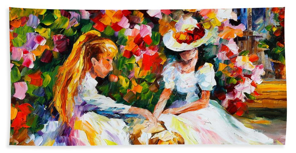 Girl Bath Sheet featuring the painting Friends With A Dog by Leonid Afremov