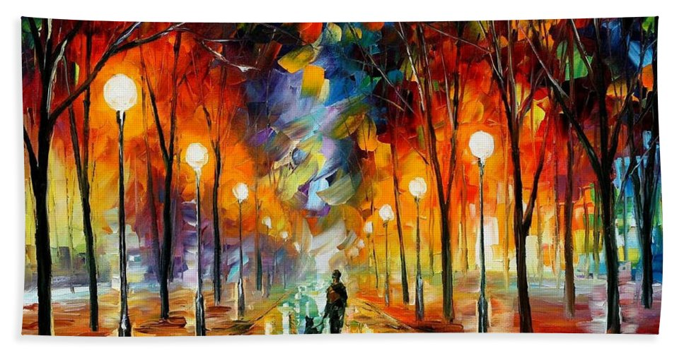 Art Gallery Bath Sheet featuring the painting Friendship - Palette Knife Oil Painting On Canvas By Leonid Afremov by Leonid Afremov