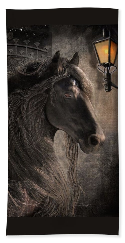 Friesian Horses Bath Towel featuring the digital art Friesian Glow by Fran J Scott