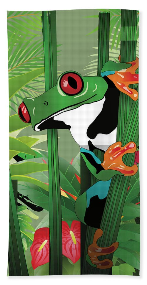 Frog Hand Towel featuring the photograph Frog 02 by Carlos Diaz
