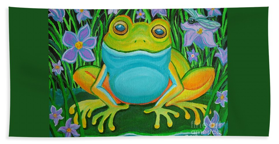 Ffrog Art Hand Towel featuring the painting Frog On A Lily Pad by Nick Gustafson