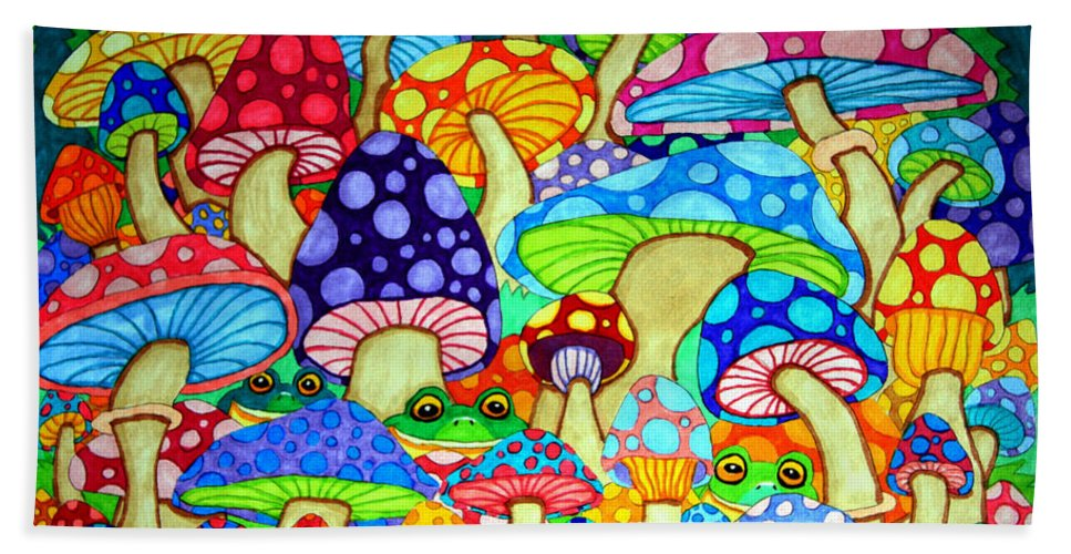 Frog Bath Sheet featuring the drawing Frogs And Magic Mushrooms by Nick Gustafson