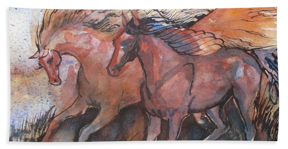 Horses Bath Sheet featuring the painting Frolicking by Sarah Kovin Snyder