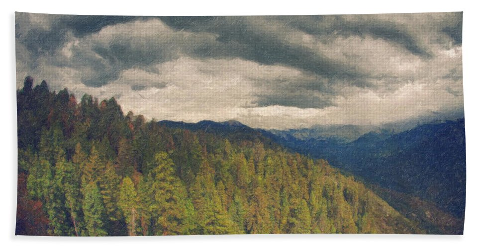 Moro Rock Bath Sheet featuring the painting From Moro Rock Of The Sequoias by Angela Stanton