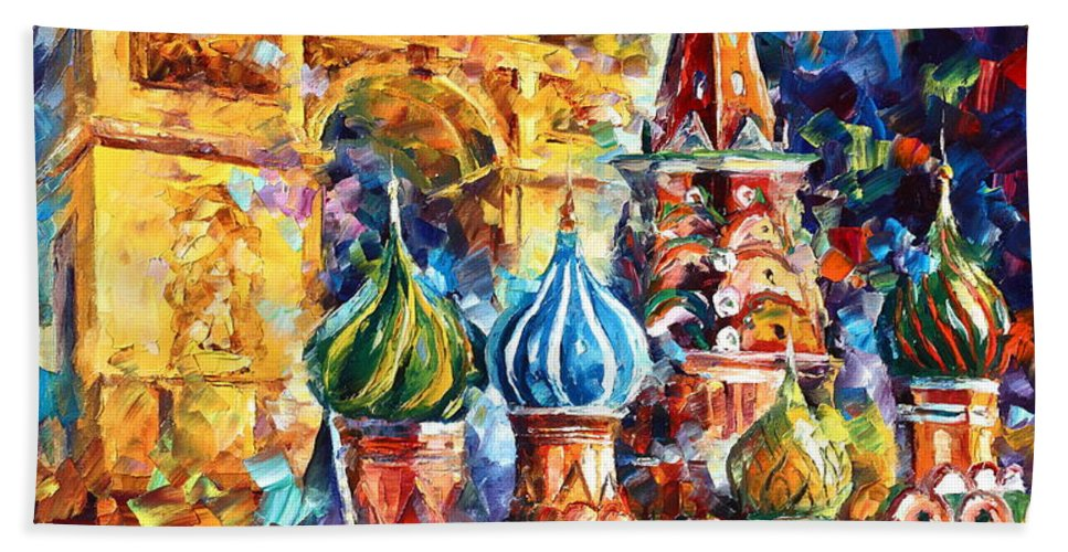 Afremov Bath Sheet featuring the painting From Moscow To Paris by Leonid Afremov