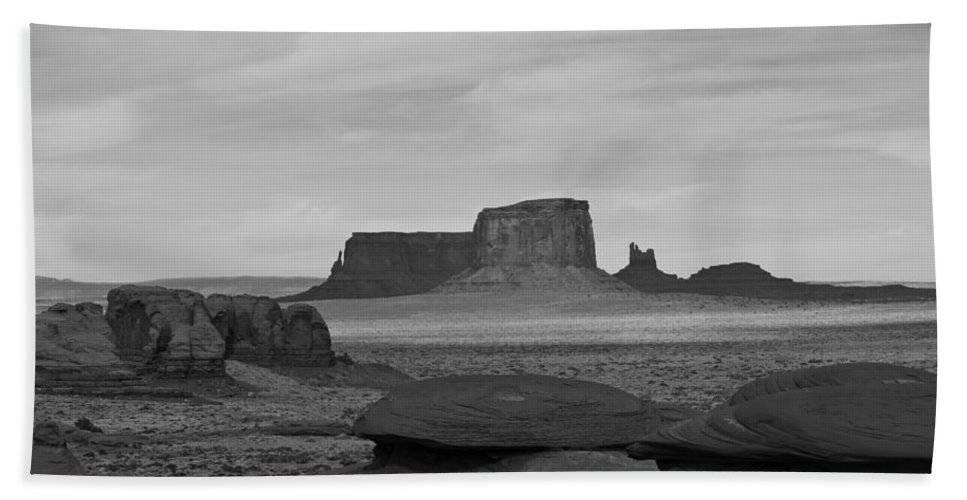 Monument Valley Bath Sheet featuring the photograph From Mystery Valley by Mike Herdering