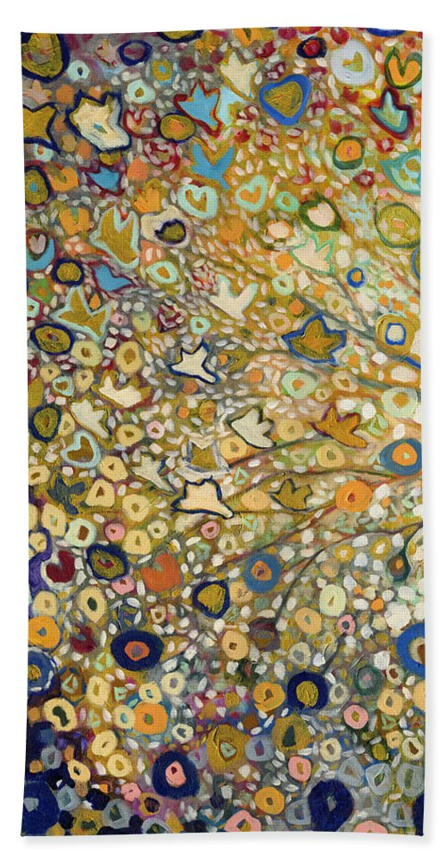 Tree Bath Towel featuring the painting From Out of the Rubble Part A by Jennifer Lommers