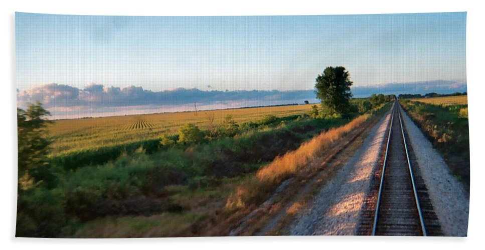 Fields Hand Towel featuring the photograph Train Through Illinois by Susan Wyman