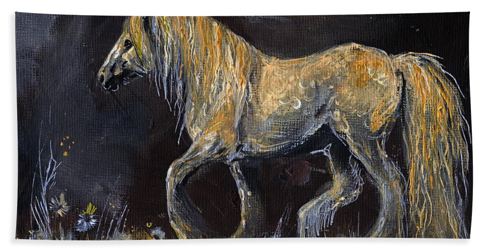 Shire Horse Bath Sheet featuring the painting From The Darkness by Angel Ciesniarska