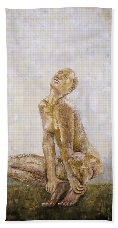 Nude Woman Hand Towel featuring the painting From The Inside by Draia Coralia