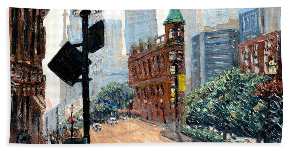 Toronto Hand Towel featuring the painting Front And Church by Ian MacDonald