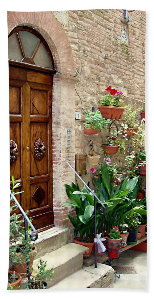 Front Door Bath Sheet featuring the photograph Front Door by Ellen Henneke