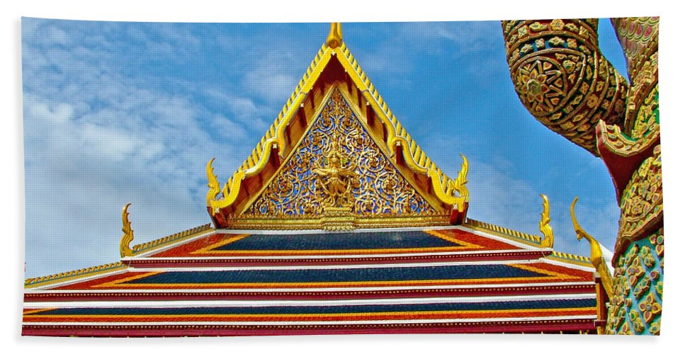 Front Of Royal Temple At Grand Palace Of Thailand In Bangkok Hand Towel featuring the photograph Front Of Royal Temple At Grand Palace Of Thailand In Bangkok by Ruth Hager