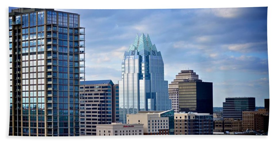 Downtown Austin Hand Towel featuring the photograph Frost Tower Iphone And Prints by Kristina Deane