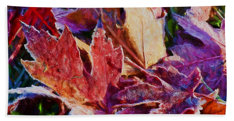 Leaves Bath Sheet featuring the photograph Frosted Leaves #2 - Painted by Nikolyn McDonald