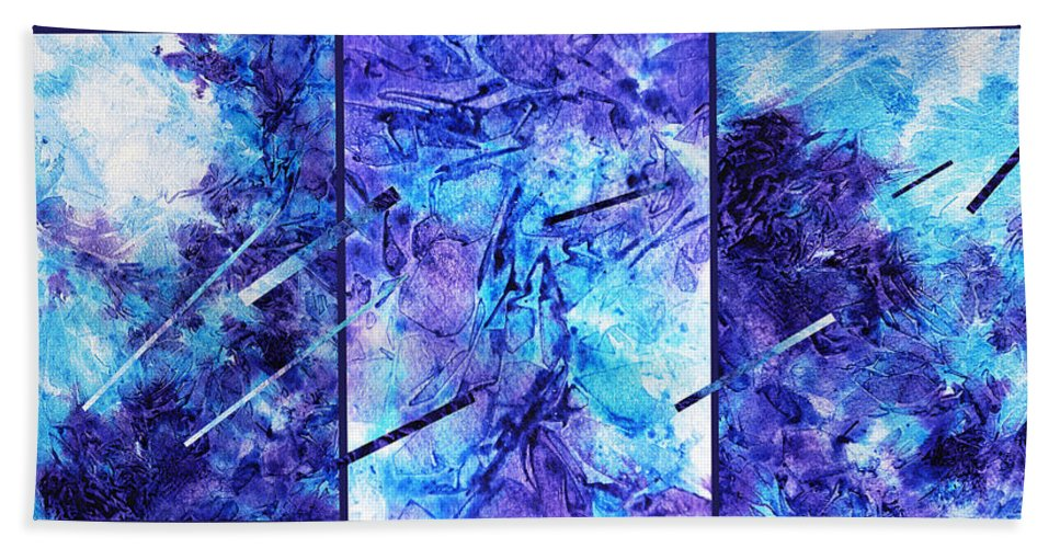 Frozen Hand Towel featuring the painting Frozen Castle Window Blue Abstract by Irina Sztukowski