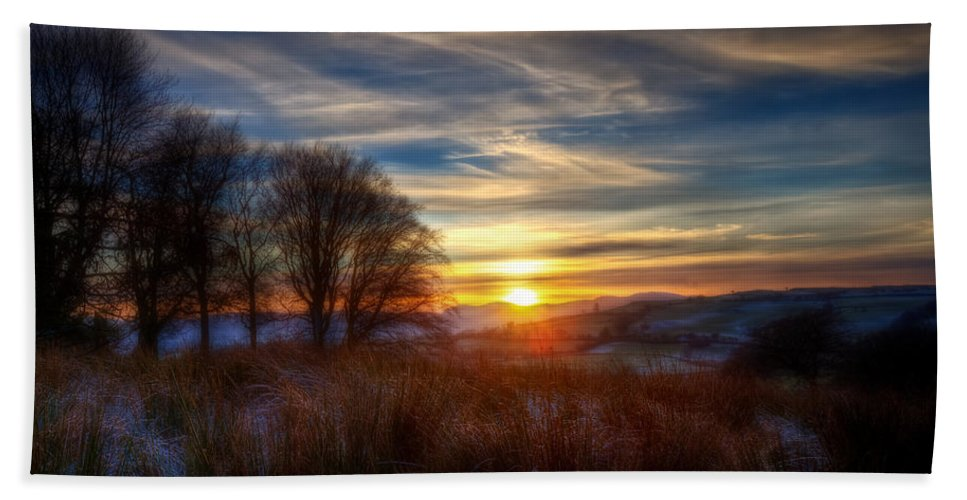 Landscape Hand Towel featuring the photograph Frosty Grasses by Beverly Cash
