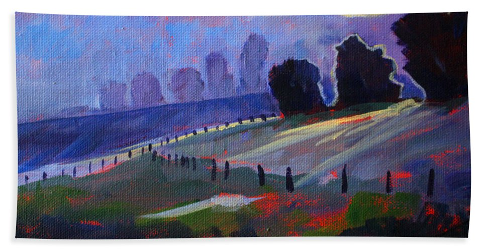 Field Hand Towel featuring the painting Frosty Morning by Nancy Merkle
