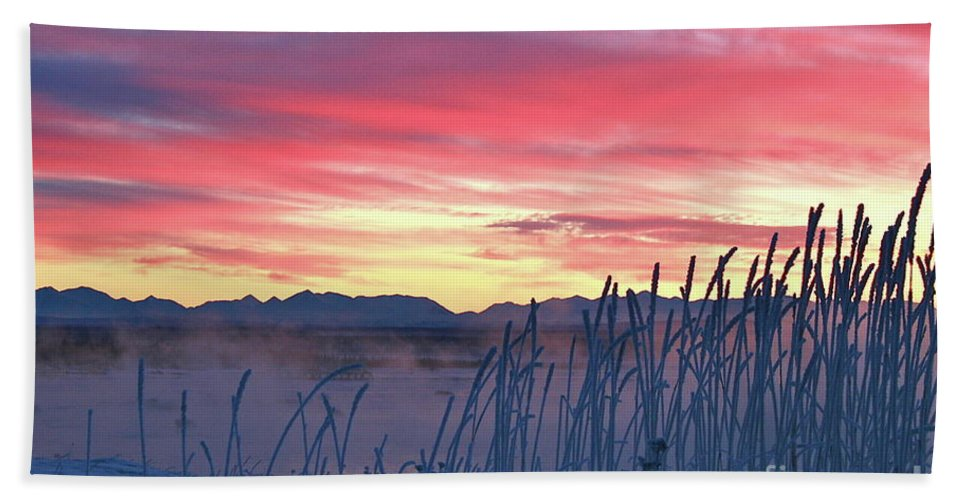 Sky Bath Sheet featuring the photograph Frosty Winter Sunrise by Rick Monyahan