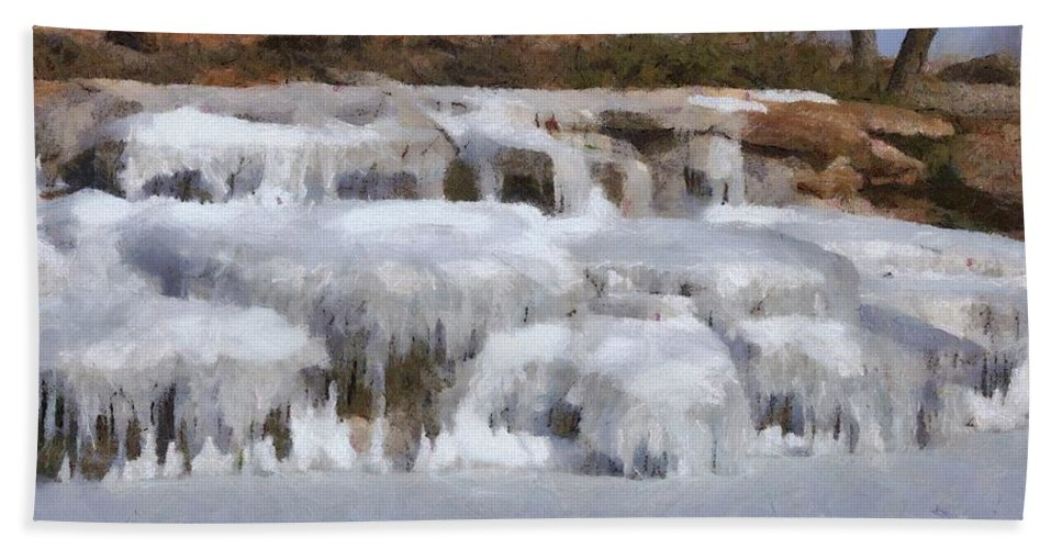 Brown Hand Towel featuring the painting Frozen Falls by Jeffrey Kolker