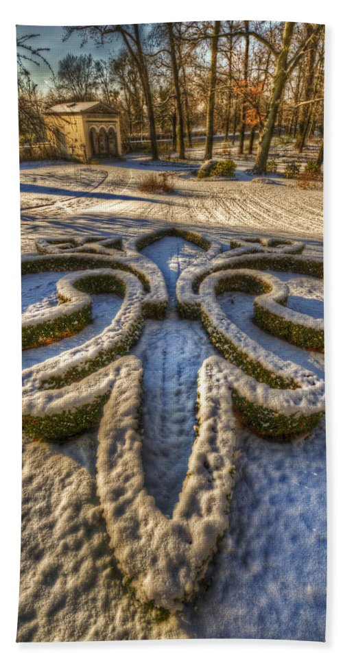 Background Bath Sheet featuring the digital art Frozen Garden by Nathan Wright