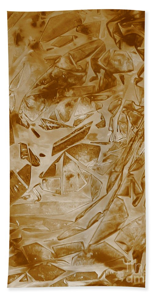 Abstract Hand Towel featuring the painting Frozen Glow by Heather Hiland