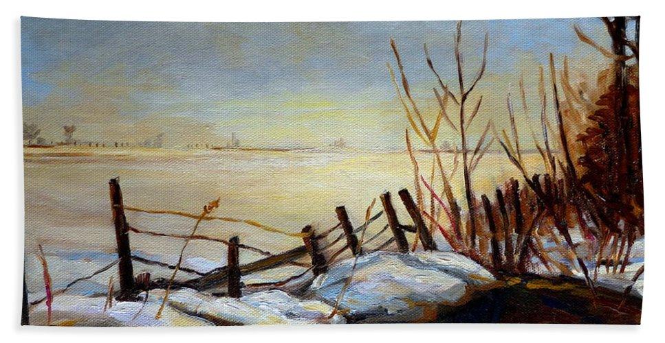 Frozen Lake Near Ste Adele Bath Towel featuring the painting Frozen Lake Near Ste. Adele by Carole Spandau