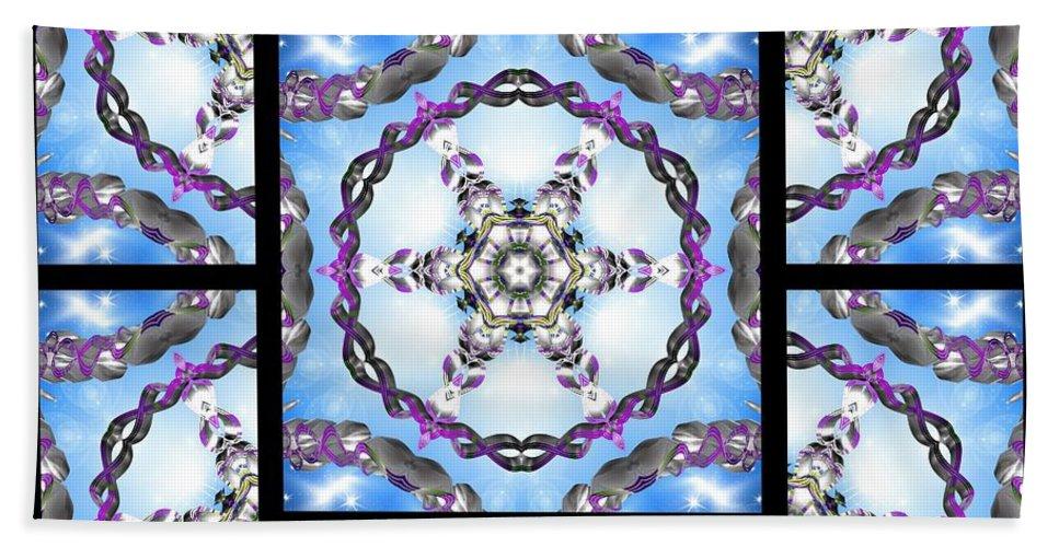 Sacredlife Mandalas Hand Towel featuring the digital art Frozen Orbweaver Page by Derek Gedney