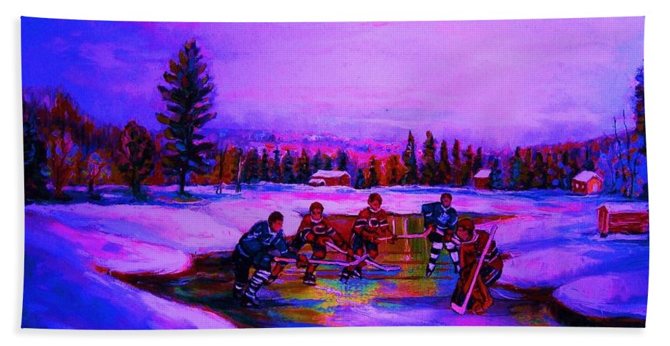 Hockey Bath Towel featuring the painting Frozen Pond by Carole Spandau
