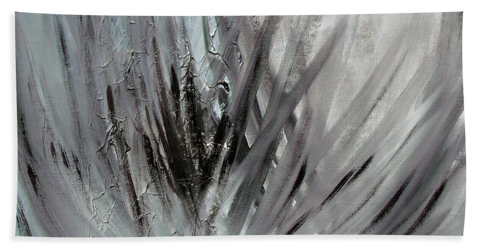 Abstract Bath Towel featuring the painting Frozen by Sergey Bezhinets