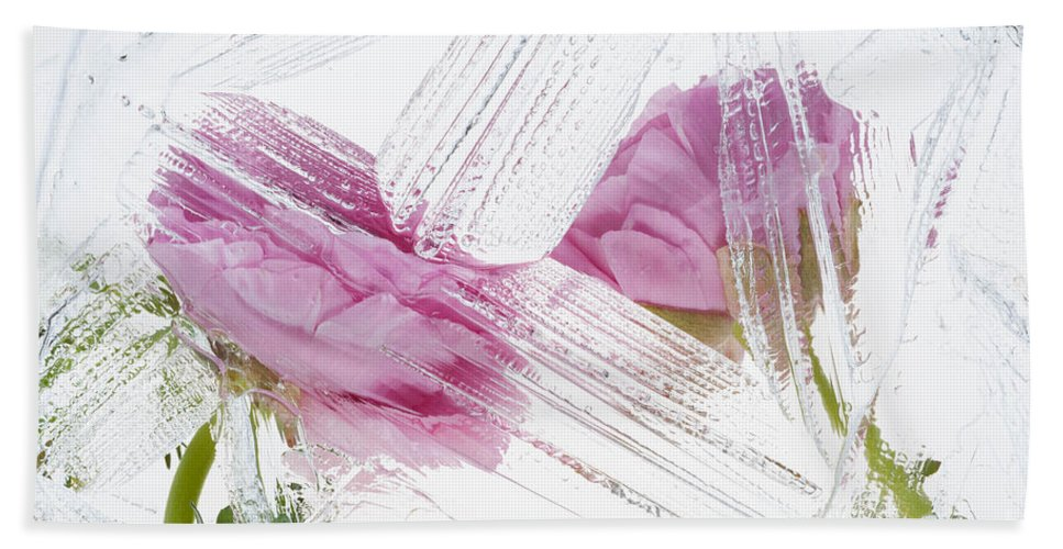 Abstract Hand Towel featuring the photograph Frozen Spring Iv by Zina Zinchik