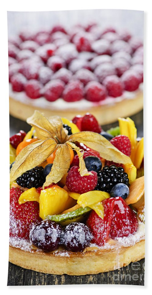 Tarts Hand Towel featuring the photograph Fruit And Berry Tarts by Elena Elisseeva