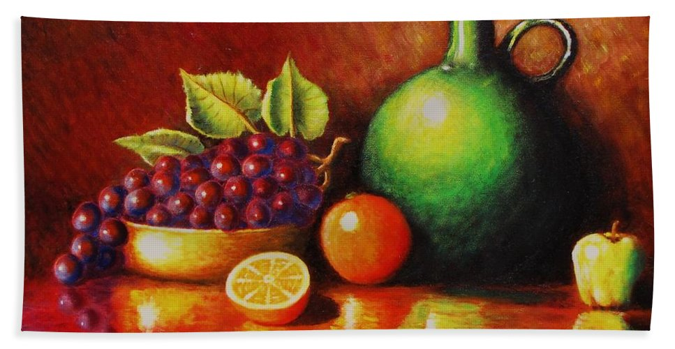 Still Life... Jug Bath Towel featuring the painting Fruit And Jug by Gene Gregory