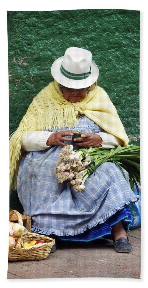 People Bath Sheet featuring the photograph Fruit And Vegetable Vendor Cuenca Ecuador by Kurt Van Wagner