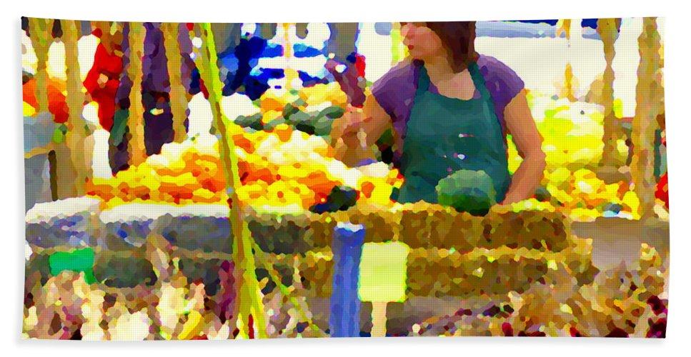 Markets Bath Sheet featuring the painting Fruit And Vegetable Vendor Roadside Food Stall Bazaars Grocery Market Scenes Carole Spandau by Carole Spandau