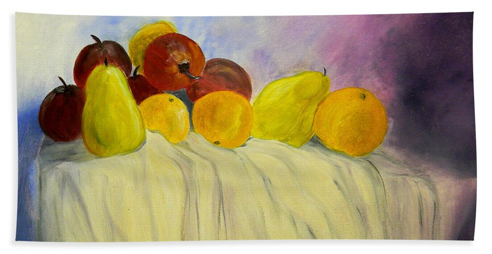 Fruit Hand Towel featuring the painting Fruit by Bertie Edwards