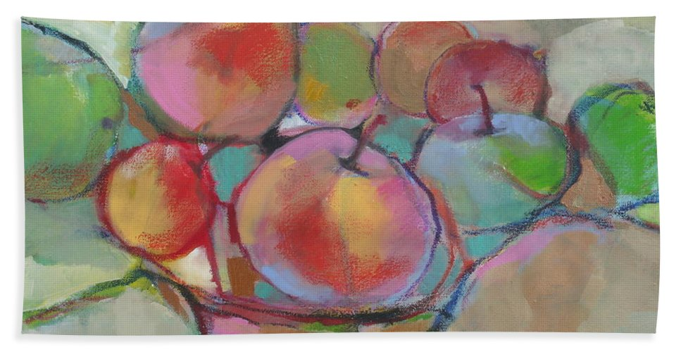 Still Life Hand Towel featuring the painting Fruit Bowl #5 by Michelle Abrams