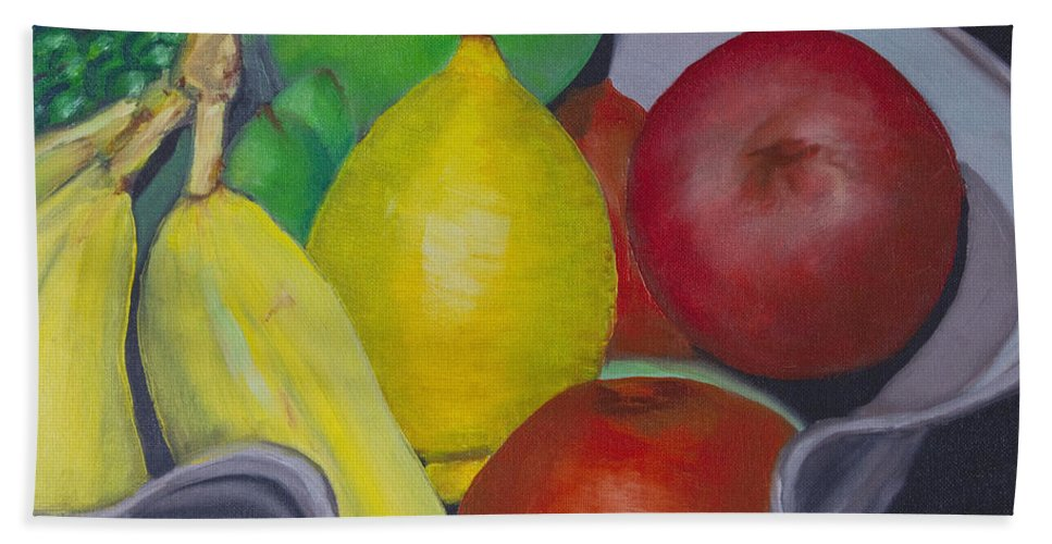 Painting Hand Towel featuring the painting Fruit Bowl by Greg Wells
