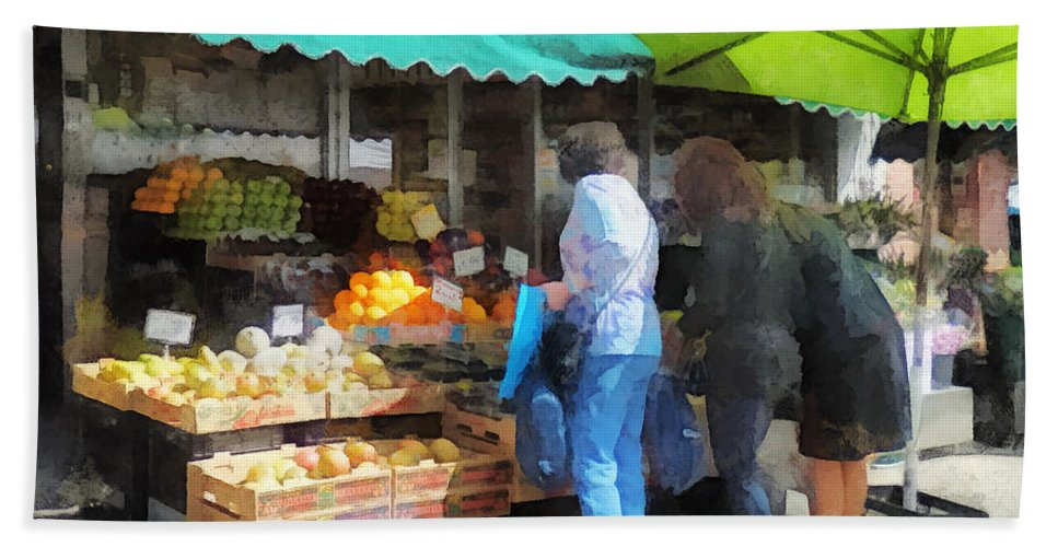 Fruit Bath Sheet featuring the photograph Fruit For Sale Hoboken Nj by Susan Savad