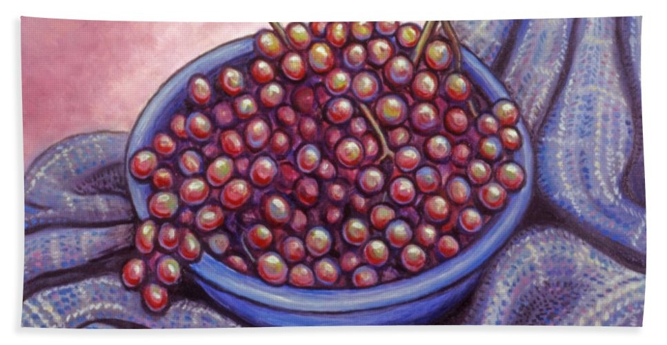 Fruit Bath Sheet featuring the painting Fruit Of The Vine by Linda Mears